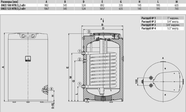 Размеры комбинированного бойлера Drazice OKCE NTR/2,2 кВт