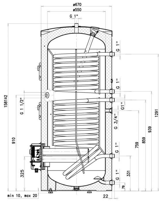 Размеры комбинированного бойлера Drazice OKCE 300 NTRR/2,2 кВт